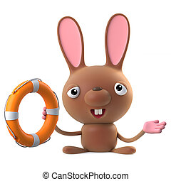 3d Cute cartoon Easter bunny rabbit comes to the rescue