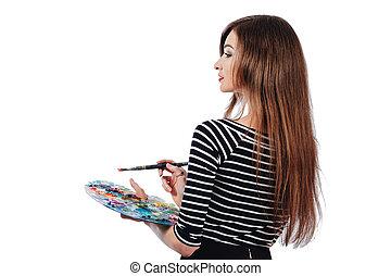 vacker,  CÙte, palett, drar,  artist, bearbeta, isolerat, bakgrund, borsta, holdingen, vit, flicka,  inspiration