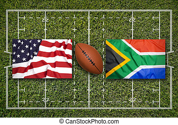 USA vs. South Africa flags on rugby field