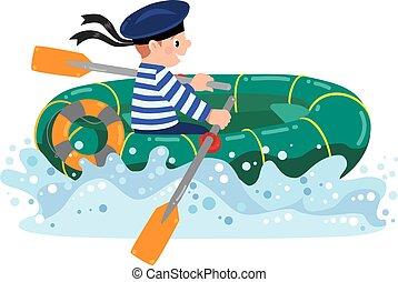 Happy sailor in boat - Happy jolly boy sailor in boat or...