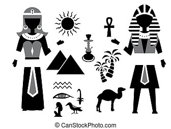 the egypt set - set in the style of a flat design on the...