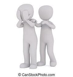 3d toon comforting crying friend - 3d toon stood comforting...