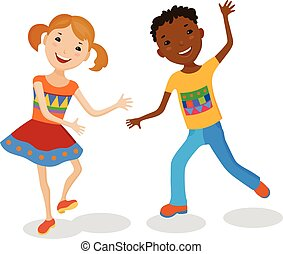 Illustration Featuring Dancing Kids