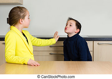 Little girl rejects little boy trying to kiss her - Little...