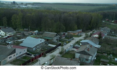 Village landscape aerial video - Village landscape with...