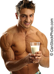 Healthy lifestyle - Young athletic man having milk