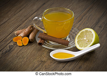 herbal tea with turmeric powder,slices and cinnamon