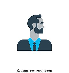 Business man in suit, side view, tured head, office worker, manager