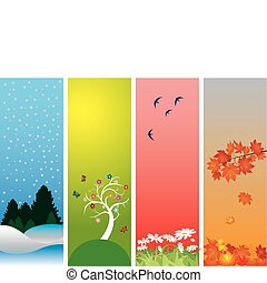 Four Seasons. Colorful style to vector illustration. Winter,...