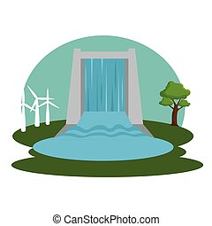 hydraulic energy ecology icon vector illustration design