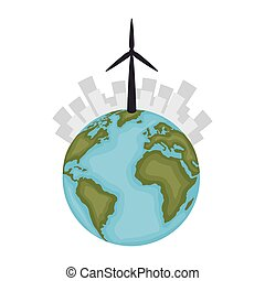Sustainable city with wind energy