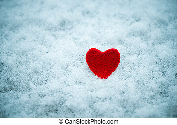 red heart in snow Valentines day