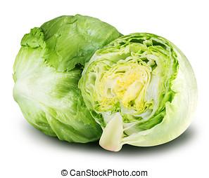 iceberg lettuce cabbage isolated on white