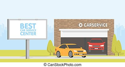 Automobile repair shop garage. The car on background of brick building. Urban space in the background. Billboard and signboard