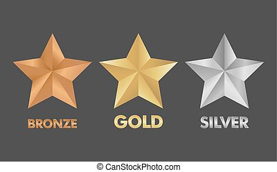 Gold Silver and Bronze star set vector illustration
