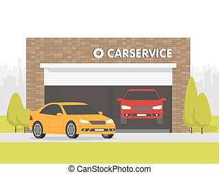 Automobile repair shop garage. The car on background of brick building. Urban space in the background