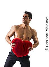 corazón, Músculos, juguete, tenencia,  Sexy, rojo, hombre