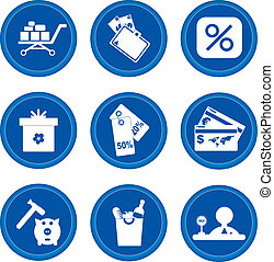 Buttons. Shoping - Set of buttons for web design. Shoping