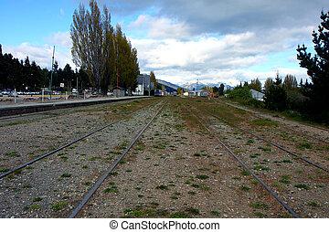 Bariloche train rails - View at the bus station of Bariloche...