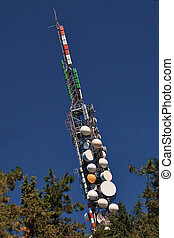 Telecommunication mast with microwave links and TV...