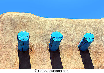 Adobe Roofline - Roofline of adobe home in Taos, New Mexico,...
