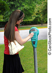 Coin Goes in Parking Meter