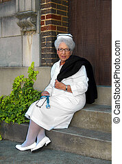 "Experienced in Health Care - Retired nurse models her ""old..."