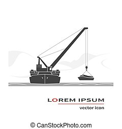 Floating crane icon. Salvage operation. Vector illustration.