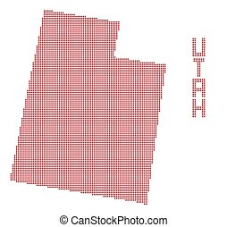 Utah Dot Map - A dot map of Utah state isolated on a white...