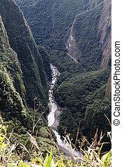 Urubamba River Valley Seen From Machu Picchu Peru South...
