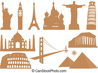 Landmark Icons. Vector illustration for you design