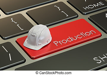Production concept on keyboard button, 3D rendering