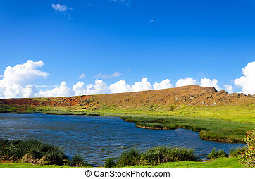 Lake on Easter Island - Beautiful lake and landscape on...