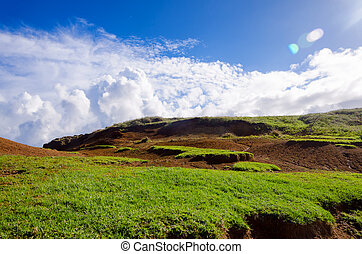 Easter Island Landscape - Easter Island landscape and sky in...