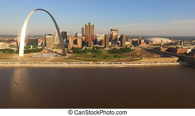 St Louis Downtown City Skyline Gateway Arch Midwest Urban...