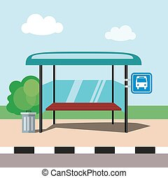 Flat illustration bus stop on blue sky background in cartoon style. Vector, EPS10.
