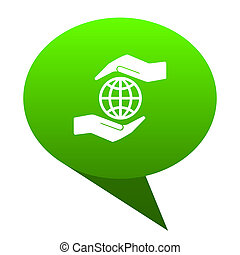 Hand protect the earth green bubble icon