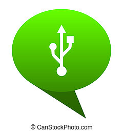 usb green bubble icon - usb green bubble web icon