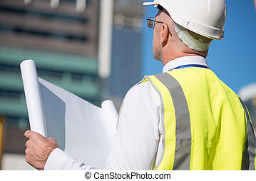 Senior engineer - Back view of construction engineer in...