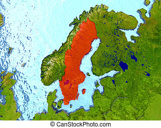 Sweden in red - Top-down view of Sweden highlighted in red...