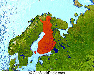 Finland in red - Top-down view of Finland highlighted in red...