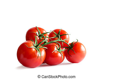 Branch of fresh red tomatoes isolated on white backround -...