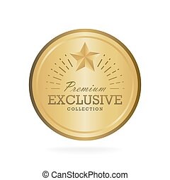 Exclusive collection sale golden badge. Gold label vector illustration