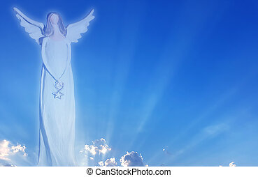 Silhouette angel in heaven symbol of love - Beautiful angel...