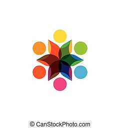 Abstract colorful six happy people vector logo icons as...