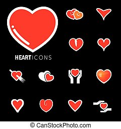 abstract heart icons ( signs ) for love, happiness- vector graphic