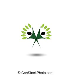 happy, joyous people as trees of life - eco concept vector....