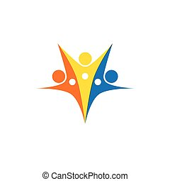 abstract colorful people group vector logo. also represents...