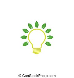 green bulb with leaves -  concept of green power or energy eps 10 vector logo