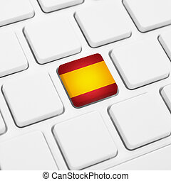 Spanish language or Spain web concept. National flag button...